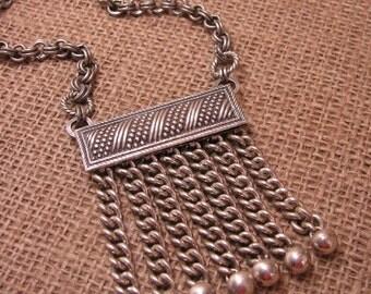 Upcycled Jewelry - Vintage Masonic Regalia - Repurposed Silver Masonic Apron Tassel Statement Necklace