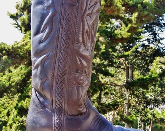 Womens Boots, Cole Haan Boot, Western Boots, Black Leather boots, Cowgirl Boots, size 7