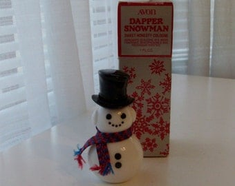 NEW Dapper Snowman Decanter with Sweet Honesty Cologne by Avon