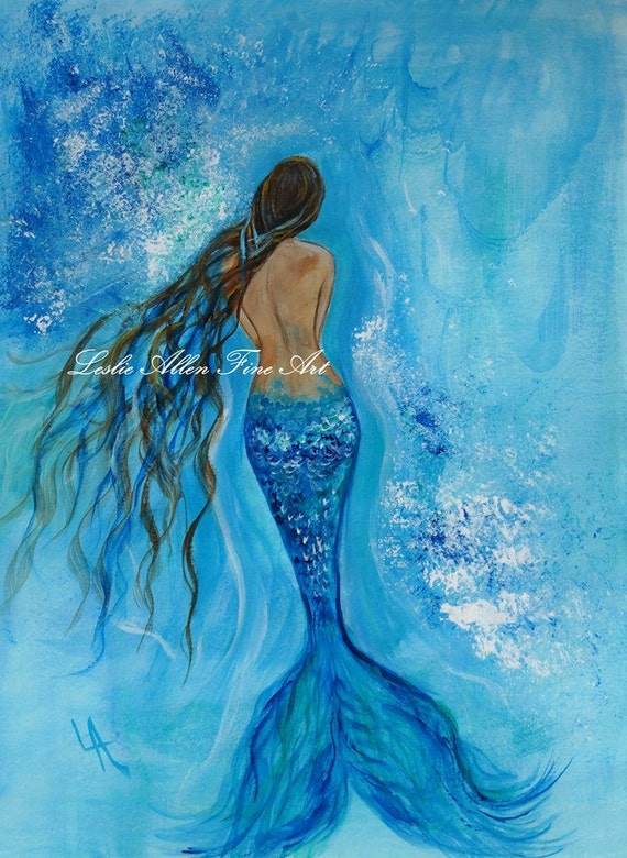 Mermaid Original Painting Fantasy Art Mermaid Underwater