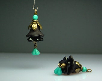 Vintage Style Bead Dangles Black and Turquoise Lucite Flowers Pair
