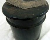 English ebony treen screw top container with sterling lid