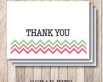 Chevron Thank You Note Card Set . Custom Colors (Qty. 8)
