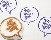 we miss you stamp. speech bubble hand carved rubber stamp. hand lettered stamp. snail mail stamp. scrapbooking. mail art. gift wrapping