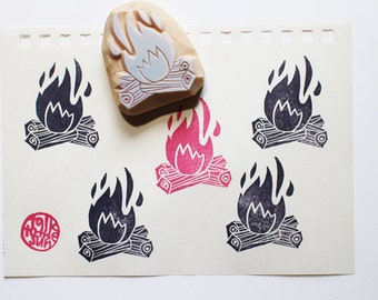 camp fire stamp. camping hand carved rubber stamp. camper's stamp. summer crafts. scrapbooking. card making. stamps by talktothesun