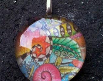 Trippy Pattern Glass Collage Pendant - Groovy, jive, artsy, boho, hippie, rave, gypsy