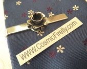 Silver Rose Tie Clip Gothic Victorian Rose Men's Tie Clip Silver Tie Clip Steampunk Tie Bar Wedding Tie Clip Handcrafted USA