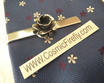 Silver Rose Tie Clip Gothic Victorian Rose Men's Tie Clip Silver Tie Clip Steampunk Tie Bar Wedding Tie Clip Handcrafted USA