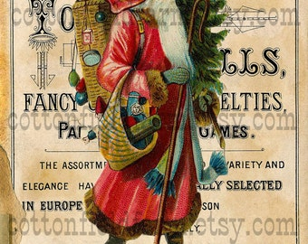 Victorian Santa on Vintage Toy Sign Digital Sheet C-497 Large 5 X 7  for Pillows, Aprons, Totes, Stockings, Decoupage, ECS,