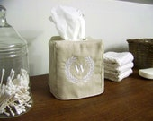 laurel wreath tissue box cover - embroidered - monogram - monogrammed tissue cover - personalized gift - hostess gift - custom