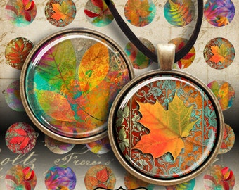 1 inch (25mm) images FALL LEAVES Digital Collage Sheet Printable Download for pendants bottle caps bezel findings cabochon trays magnets