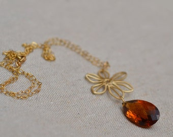 Citrine Gold Necklace. Madeira Citrine Marquise Necklace. November Birthstone. Amber Color Flower Gold Filled Necklace.  Fine Jewelry.