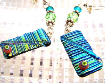 Blue Green Dichroic Earrings, Fused Dichroic Glass, Sterling Silver and Swarovski Crystals.Hand Made Statement Earring