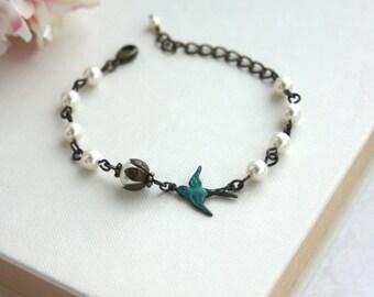 Teal Swallow Bird with Ivory Pearls Adjustable Bracelet. Swarovski Pearls, Teal Brass Bird, Vintage Style Rustic Wedding, Bridesmaids Gifts