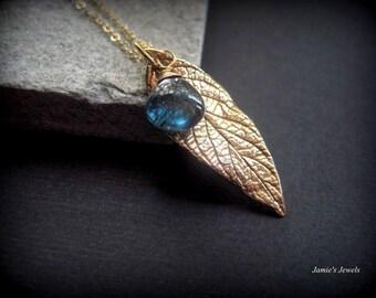 Gold Leaf Necklace -Bronze Leaf Gemstone Necklace - Blue Gemstone Necklace - Gold Rustic Necklace - Modern Gold Necklace