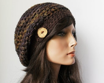 Crochet Slouchy Beanie Hat - Hand Painted Brown, Purple and Gold - Button Tab Slouchy Hat hemp wool Accessories Hemp Wool