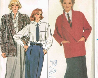 Oversized Jacket Straight Skirt Shirt Butterick 6871 Vintage 80s Sewing Pattern Size 12 14 16 Bust 34 36 38 Ellen Tracy