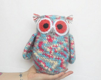 Crochet Large Plush Owl Stuffie in Pink, Grey, Blue and Cream, ready to ship.