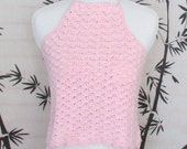 Halter Top Pink Blush Crochet Cotton