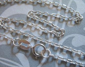 "Finished Necklace Chain, Sterling Silver Cable Chain / 16-36"" inch, 1 pc, 2.5x1.7 mm / wholesale  d601.20 d601.24 d601.30 d601.d d601.36"