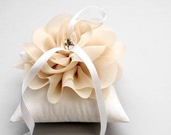 Taupe wedding ring pillow, beige flower ring bearer pillow, wedding ring cushion - Aria