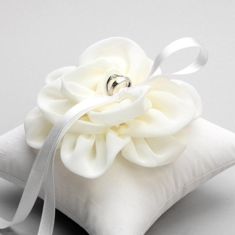 Ivory Flower Ring Pillow Wedding Ring Pillow Bridal Ring