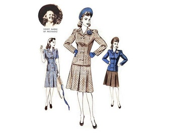 Hollywood Pattern 850, 1940s Womens Suit Dress, Double Breasted Jacket, Pleated Skirt, Starlet Wendy Barrie, Vintage Sewing, Uncut