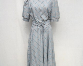 80s Cotton Day Dress size Small to Medium Full Skirt Dress Gray Teal Stripe