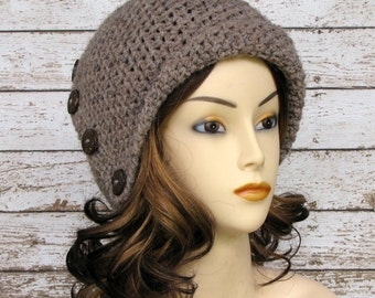 Brown Wool Blend Cloche, Taupe Ladies Winter Hat