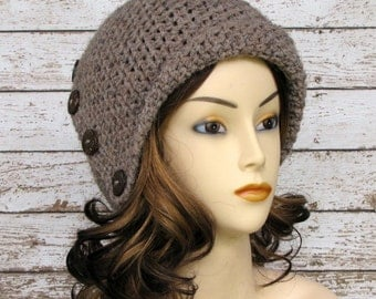 Wool Blend Taupe Crocheted Ladies Cloche, Brown Wool Blend Woman's Winter Hat