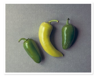 Peppers Photography, Food Photography, Spicy Jalepeno Peppers, Green and Gray Kitchen Decor, Minimal Modern Cooking Photography