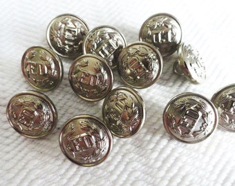 Fire Department Vintage Buttons -8  Silver Metal