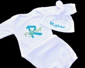 Personalized Name and Initial Baby Gown and Knotted Beanie Hat Combo