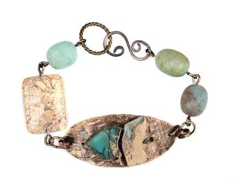 Blue Stone Hammered Metal Bracelet Jasper Green Quartz Gemstone