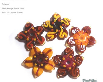 FALL FLOWERS Handmade Lampwork Beads Autumn Mix Orange Sienna Brown Chocolate Flowers  -  Set of 5