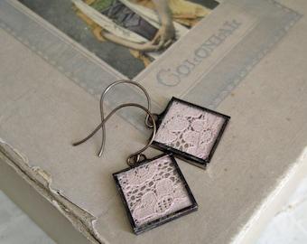 Pale Pink Lace Earrings Jewelry
