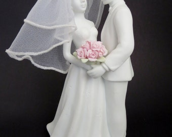 Bride and Groom Porcelain Cake topper - Wedding Cake Topper - White porcelain Bridal Couple cake topper