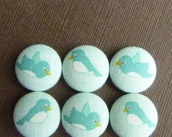 Tweet -- Blue Little Birds Fabric Covered Button Magnets -- babblingbrookes