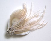 Peacock Beauty feather hair clip with rhinestones bridal ivory off white champagne