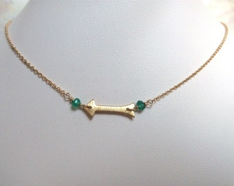Arrow Choker Necklace- Gold Filled with Gemstones