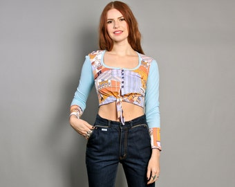 70s NOVELTY Print CROP TOP / Long Sleeve Sky Blue Tie Top, xs