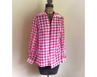 Vintage  Rockabilly Red Gingham Blouse with Ric Rac Trim and Rhinestones