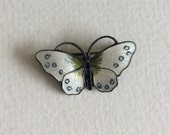 Beautiful guilloche white enamel sterling silver butterfly brooch from Norway Finn Jensen