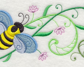 Honeybee Blossoms Border Embroidered Terry Kitchen Towel Bathroom Hand Towel