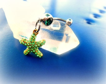 Green StarFish Belly Ring, Fantasy Jewelry, Ocean Belly Ring, Beach Girl, Nautical Piercing,Trendy Belly Ring, Ready to Ship,Direct Checkout