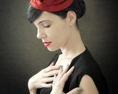 Modern Red Felt Fascinator - Orbital Series - Made to Order
