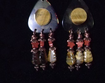 Tiger Eye, Red Jasper and Tortoise Shell Celluloid Guitar Pick Earrings