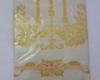 Vintage NOS Damask Christmas Candles Poinsettias Tablecloth 52 X 52