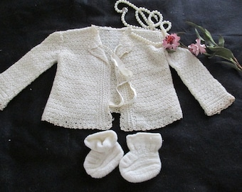 Vintage Crocheted Baby Sweater and Booties