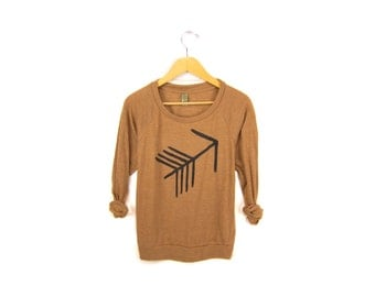 Tribal Arrow Tunic - Fleece Oversized 3/4 Sleeve Scoop Neck Sweatshirt Tunic in Rust and Black - Women's Size S-4XL